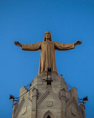josep: Barcelona, Catalonia, Spain, October 02, 2016. Jesus Christus Statue (by Josep Miret) at Temple Expiatori del Sagrat Cor on Summit of Mount Tibidabo in Barcelona.