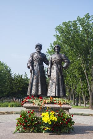 kuban: KRASNODAR, RUSSIA -  JULY, 29, 2016: Monument To Cossacks and Mountaineers — heroes of World War I