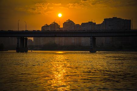 krasnodar: Sunset on the river Kuban in the Krasnodar city, Russia Stock Photo