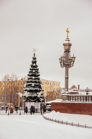 MOSCOW, RUSSIA - JANUARY 17, 2016: Christmas Tree near the Savior Cathedral