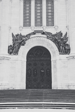 savior: Entrance with stairs to the temple of Christ the Savior, Moscow