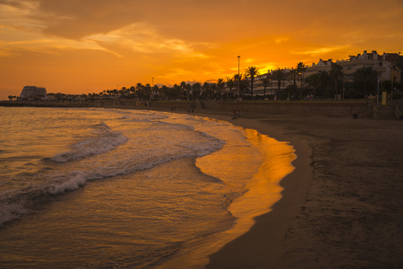 Beautiful sunset in the Sitges, Catalonia, Spain Stock Photo