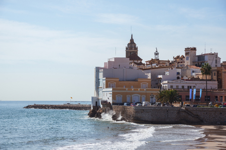 SITGES, CATALONIA, SPAIN - OCTOBER 07, 2016: View on the Church of Sant Bartomeu and Santa Tecla in Sitges Editorial