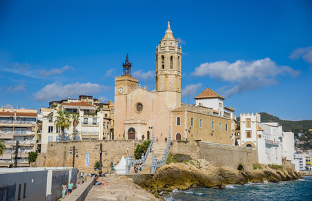 SITGES, CATALONIA, SPAIN - OCTOBER 07, 2016: Church of Sant Bartomeu and Santa Tecla in Sitges