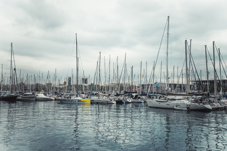 BARCELONA, CATALONIA, SPAIN - OCTOBER 10, 2016. Yachts in Port Vell in Barcelona
