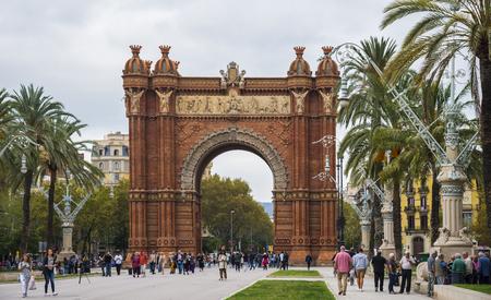conquering adversity: BARCELONA, CATALONIA, SPAIN - OCTOBER 10, 2016. Arc de Triomf (Triumphal Arch), near Parc De La Ciutadella