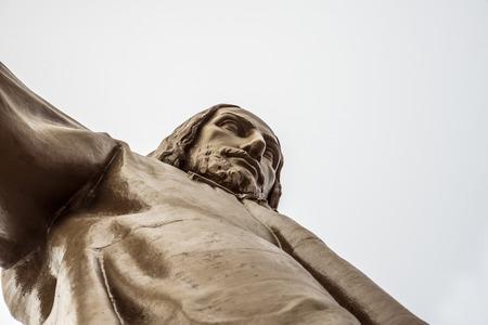 BARCELONA, CATALONIA, SPAIN - OCTOBER 02, 2016: Jesus Christus Statue (by Josep Miret) at Temple Expiatori del Sagrat Cor on Summit of Mount Tibidabo in Barcelona