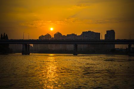 KRASNODAR, RUSSIA - JULY, 31, 2016: Sunset on the river Kuban in the Krasnodar city, Russia
