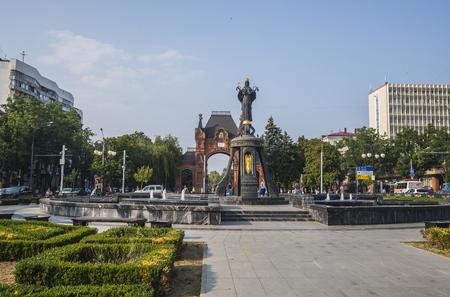 KRASNODAR, RUSSIA - JULY, 29, 2016: The monument to St. Catherine, Krasnodar Editorial