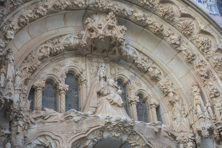 sagrat cor: Building facade details. Church of the Sacred heart of Jesus in Barcelona, Spain