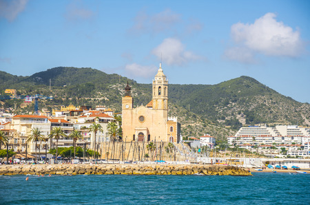 SITGES, CATALONIA, SPAIN - JUNE 08, 2017: View on the Sitges city