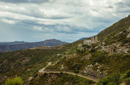 Sant Pere de Rodes is a former Benedictine monastery in the North East of Catalonia, Spain Stock Photo