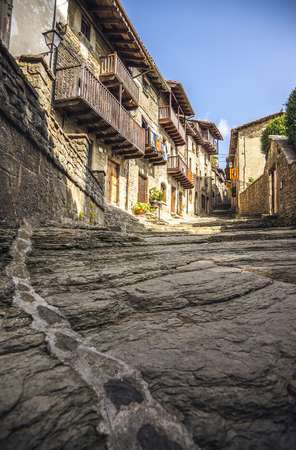 Volcanic natural stone street in medieval village Rupit, subregion of the Collsacabra, Spain