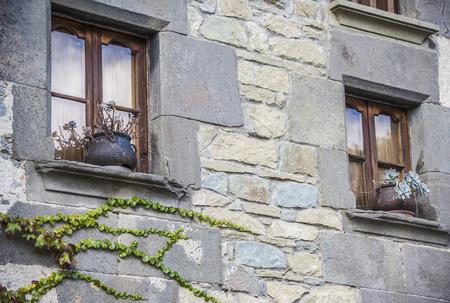 Windows with flowerpot Stock Photo