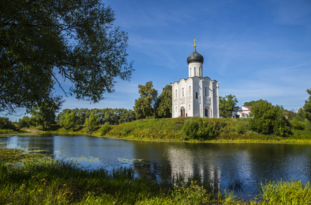 BOGOLYUBOVO, VLADIMIR REGION, RUSSIA - AUGUST 24, 2015: The Church of the Intercession of the Holy Virgin on the Nerl River, 12th-century. Orthodox church and a symbol of medieval Russia
