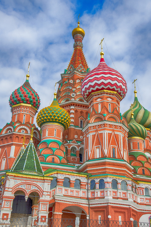 Colorful domes at Saint Basils Cathedral (The Cathedral of Vasily the Blessed). Moscow, Russia