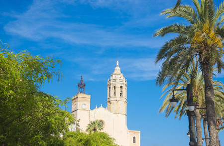 View on the Church of Sant Bartomeu and Santa Tecla, Sitges, Spain Stock Photo