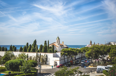 SITGES, CATALONIA / SPAIN - OCTOBER 05, 2016: Beautiful scenic view on Sitges city