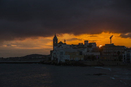 Beautiful sunset in Sitges town. Catalonia, Spain Stock Photo