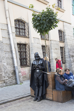 LVIV  UKRAINE - OCTOBER 06, 2018: Darth Vader on the street of Lviv