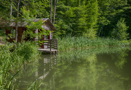 Old fishing hut at the lake