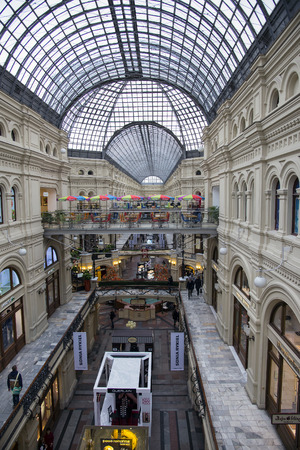 MOSCOW  RUSSIA - OCTOBER 28, 2014: GUM in Moscow. Interior of the Main Universal Store