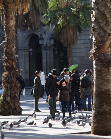 BARCELONA, CATALONIA  SPAIN - 22 JANUARY 2019: Plaza Real meaning Royal Plaza is a square in the Barri Gotic of Barcelona, Catalonia, Spain