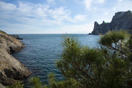 Views for the Crimean mountains and Royal beach in Novy svet, Crimea