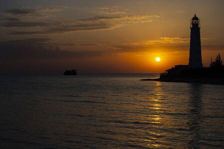 Amazing sunset on the Cape Tarkhankut, south-western cape of the Tarkhankut Peninsula, Crimea Stock Photo