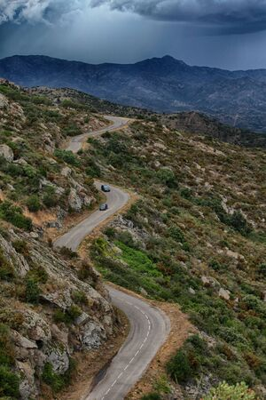 Mountain road in the Sant Pere de Rodes, Catalonia, Spain