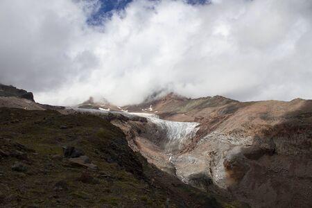 Mountain landscape view. Glacier, climbing Mount Kazbek, Caucasus, Georgia