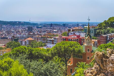 View of the Barcelona city from Park Guell, Spain Imagens