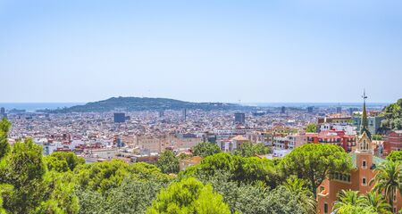 Panoramic view of the Barcelona city from Park Guell, Spain