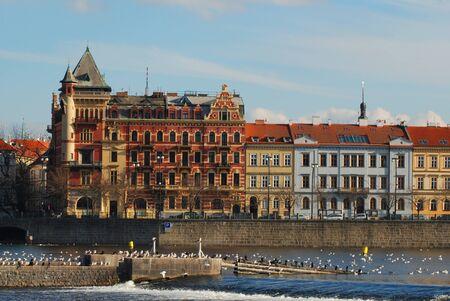 Sunny winter morning on the Vltava River