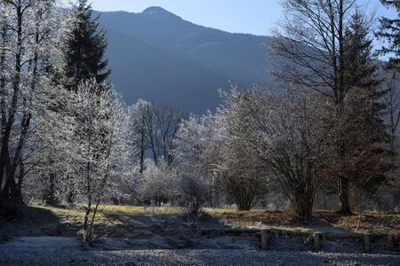 Beautiful winter morning in the mountains. Triglav National Park. Julian Alps in Slovenia, Europe