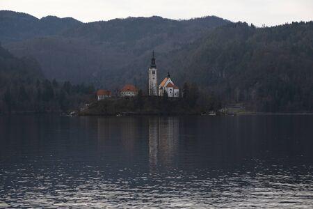 Morning city landscape in Bled, Slovenia