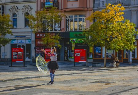 OSTRAVA / CZECH REPUBLIC - SEPTEMBER 29, 2019: Central square of Ostrava city - Masaryk Square