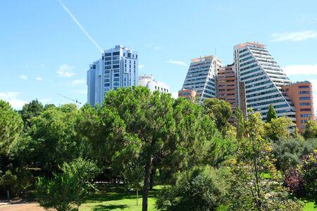 Blue Sky and green park. Valencia city, Valencia Province, Spain