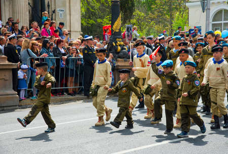 """SEVASTOPOL / CRIMEA - MAY 09, 2017: Parade on Victory Day with the participation of schoolchildren. Action """"Immortal regiment"""""""