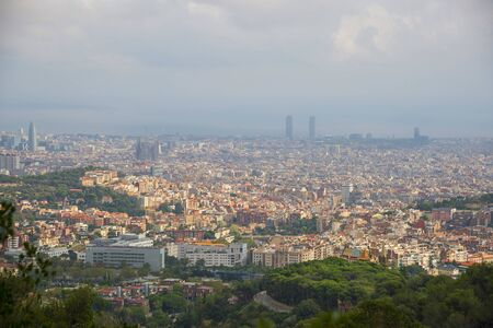 View of Barcelona city in hot summer day, Spain Фото со стока