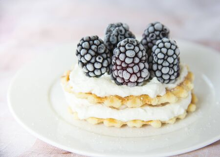 Waffles with blackberries and cream cheese