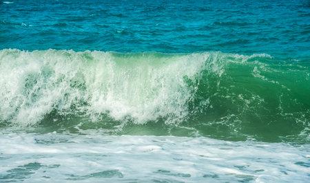 Restless Black Sea in Crimea. Deep sea water waves