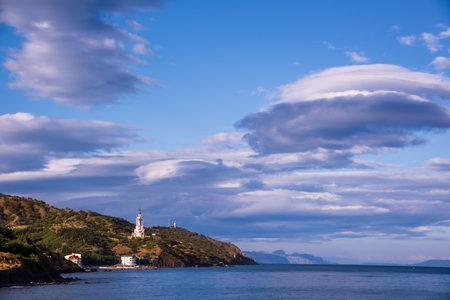 Beautiful evening view of the Crimean village and the Black Sea. Southeastern coast of Crimea 版權商用圖片
