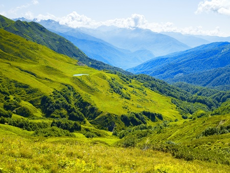 caucasus: Mountain panorama from alpine meadows in the Caucasus Mountains