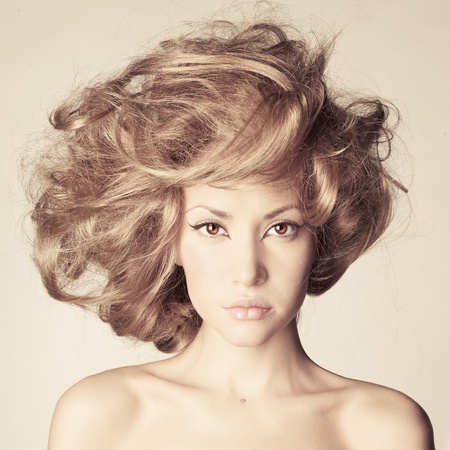 nude art model: Photo of young beautiful woman with magnificent hair