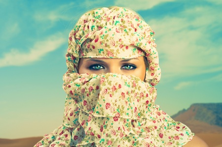 Fashion portrait of beautiful lady in Bedouin scarf Stock Photo - 12590339