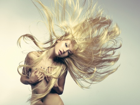 nude blond girl: Photo of beautiful woman with magnificent hair Stock Photo