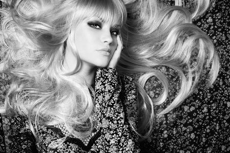 Black and white of  beautiful woman with magnificent hair