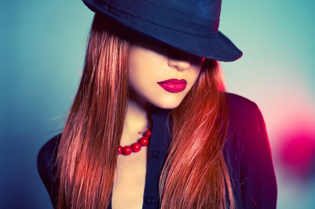 Fashion portrait of sexy woman in Hat Stock Photo - 12779856