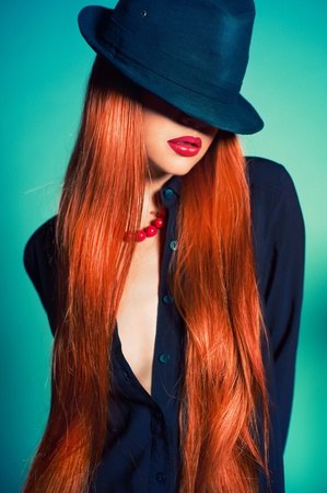 Fashion portrait of sexy woman in Hat Stock Photo